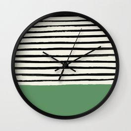 Moss Green x Stripes Wall Clock