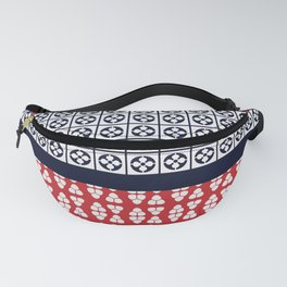 Japanese Style Ethnic Quilt Blue and Red Fanny Pack