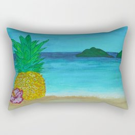 Pineapple On The Beach - Vibrant Rectangular Pillow