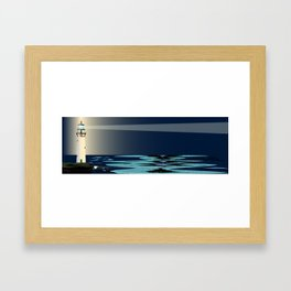 Lighthouse Night Background Framed Art Print