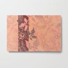 Tomatoes leaves in coral Pantone palette Metal Print