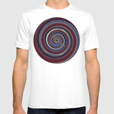 Re-Created Spin Painting (Midnight & Burgundy) by Robert S. Lee Mens Fitted Tee White MEDIUM