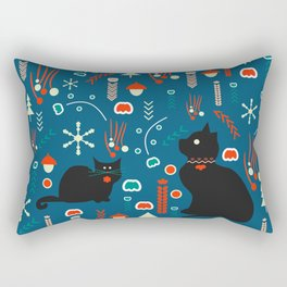 Black kitties in winter Rectangular Pillow