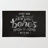lyrics Area & Throw Rugs featuring LYRICS - Rest your bones by Molly Freze