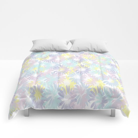 Painterly Pastel Spring Garden Abstract Comforters