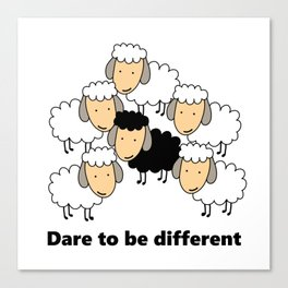 Dare To Be Different Black Sheep Canvas Print