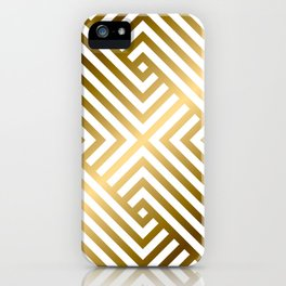 Art Deco Gold and Alabaster White Geometric Pattern iPhone Case