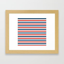 Navy blue and red stripes pattern Framed Art Print