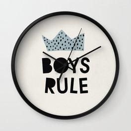 Mid century boys rule kids art Wall Clock