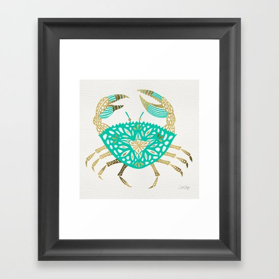 Crab – Turquoise & Gold by catcoq