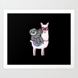 Sloth Llama Music Art Print