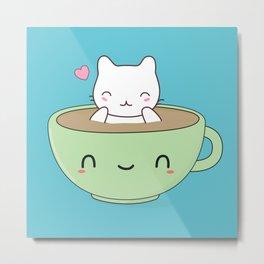 Kawaii Cute Coffee Cat Metal Print