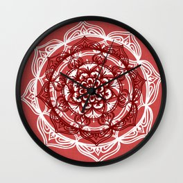 Mandala on Red Linen Wall Clock