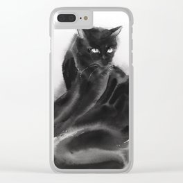 Grooming black cat Clear iPhone Case