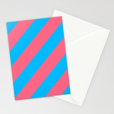 Stripes Diagonal Pink & Blue Stationery Cards