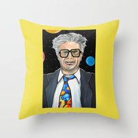 will ferrell Throw Pillows featuring Will Ferrell as Harry Caray SNL by Portraits on the Periphery