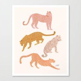 Leopards Illustration (Neutral Palette) Canvas Print