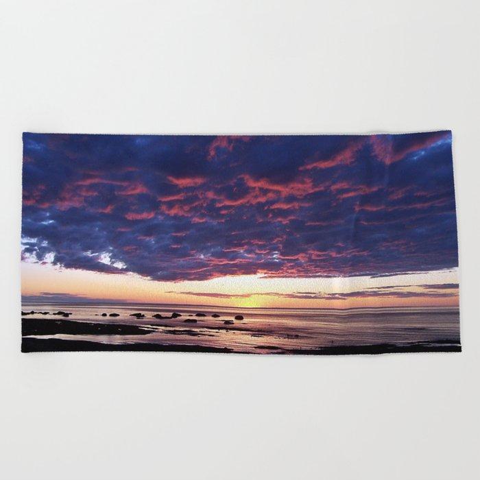 Textured Clouds at Sunset Beach Towel
