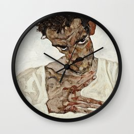 Egon Schiele - Self Portrait With Lowered Head Wall Clock