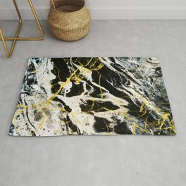 Gold And Marble Pattern Rug