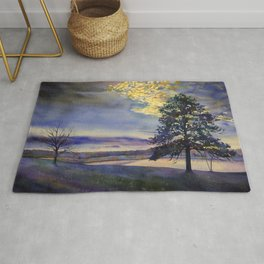 Colorful sunset silhouetting trees and lake.  Watercolor landscape artwork tree painting Rug
