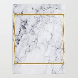 White Marble Gold Frame Poster
