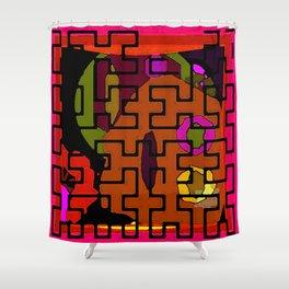 Orange Maze Shower Curtain