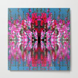 FUCHSIA PINK HOLLYHOCKS IN BLUE WATER REFLECTION Metal Print
