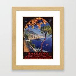 Salerno Italy vintage summer travel ad Framed Art Print