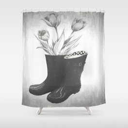 These boots are made for flowers Shower Curtain