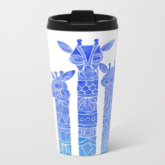 Giraffes – Blue Ombré Metal Travel Mug