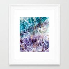 Turquoise & Purple Quartz Crystal Framed Art Print