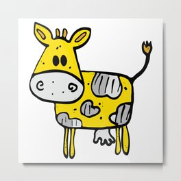 Fun yellow and grey hand drawn cow Metal Print