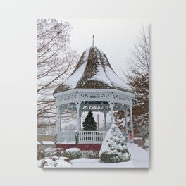 Courthouse Gazebo in the Snow Metal Print