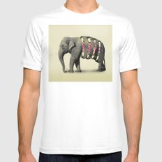 Inner Rose Elephant Mens Fitted Tee White MEDIUM