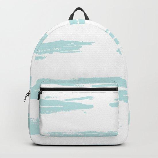 Swipe Stripe Succulent Blue and White Backpack