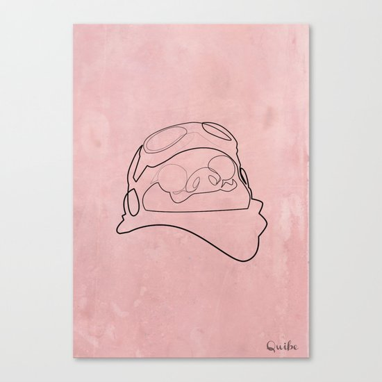 One Line Porco Rosso red Canvas Print