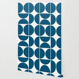 Mid Century Modern Blue Square Wallpaper