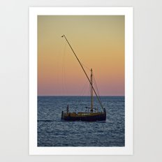 Boat Sunset Art Print