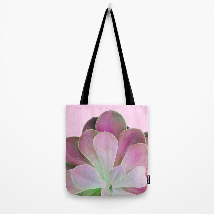 Acid Green and Pink Echeveria Tote Bag