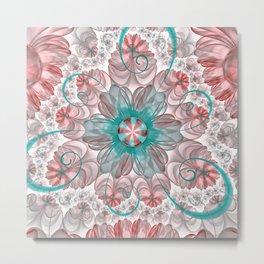 Pretty Pastel Rose & Aqua Fractal Floral Spirals Metal Print