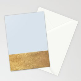 Color Blocked Gold & Periwinkle Stationery Cards