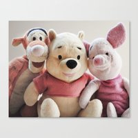 tigger Canvas Prints featuring Pooh, Tigger, and Piglet by Ning Watson