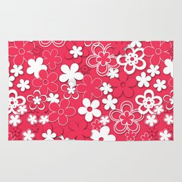 Red and white paper flowers 1 Rug
