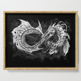Ouroboros mythical snake on black cloudy background | Pencil Art, Black and White Serving Tray
