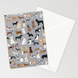 Mixed Dog lots of dogs dog lovers rescue dog art print pattern grey poodle shepherd akita corgi Stationery Cards
