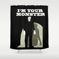 frankenstein Shower Curtains featuring Frankenstein by The Red Umbrella Shop