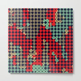 circle pattern graffiti drawing abstract in red and blue Metal Print