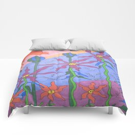 Blue Bohemian Garden Art Comforters