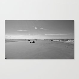 low tide sand beach sunny summer day at ouddorp zeeland netherlands europe black white Canvas Print